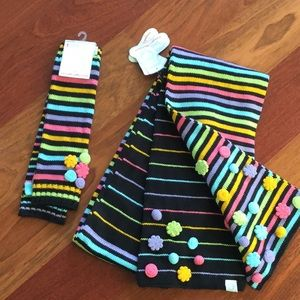 Little Miss Matched multicolor scarf, arm warmers